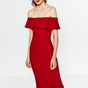 Zara Off Shoulder Red Dress, XS